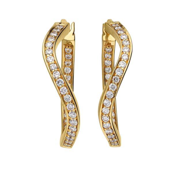 Hoop Øreringe i 18 kt. Guld med Diamanter – Wave Kollektion