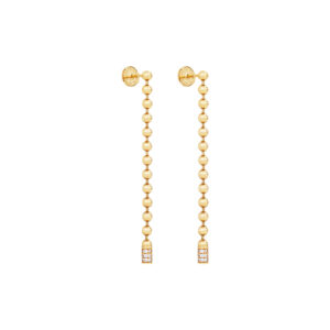 Bead Chain Dangle Earrings with Diamonds