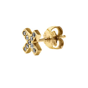 Cross Stud Earring with Diamonds