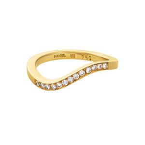 Ring i 18 kt. Guld med Hvide Diamanter – Wave Kollektion