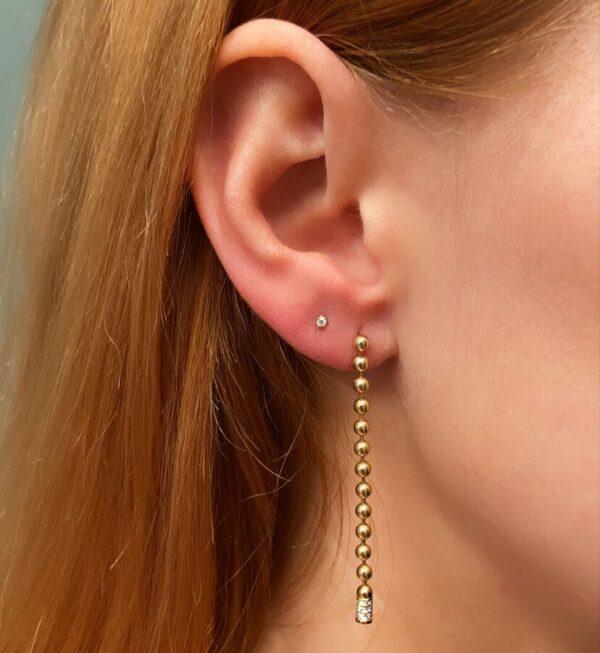 Bead Chain Dangle Earrings with Diamonds